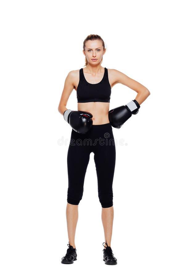 Het atletische vrouw in dozen doen, geïsoleerd op wit stock foto