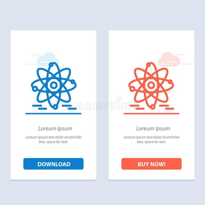 Het atoom, het Onderwijs, de Kern Blauwe en Rode Download en kopen nu de Kaartmalplaatje van Webwidget stock illustratie