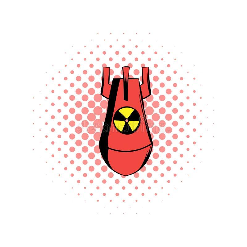 Het atoom rode pictogram van de bomstrippagina stock illustratie