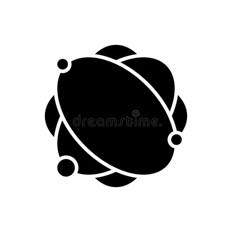 Het atoomconcept van het structuur zwarte pictogram Atoomstructuur vlak vectorsymbool, teken, illustratie royalty-vrije illustratie