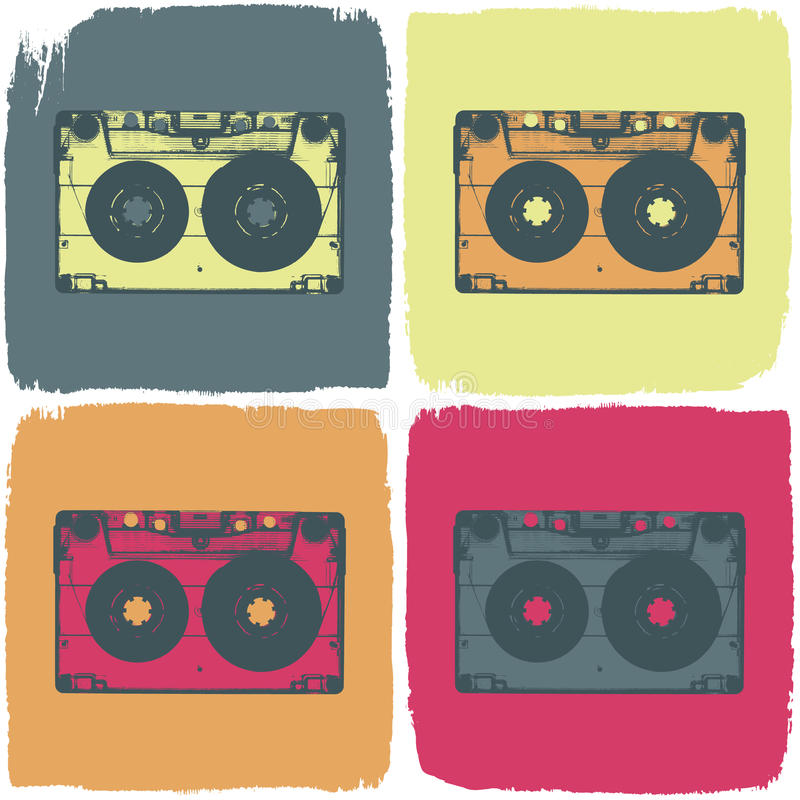 Het audio concept van de cassette pop-kunst. stock illustratie
