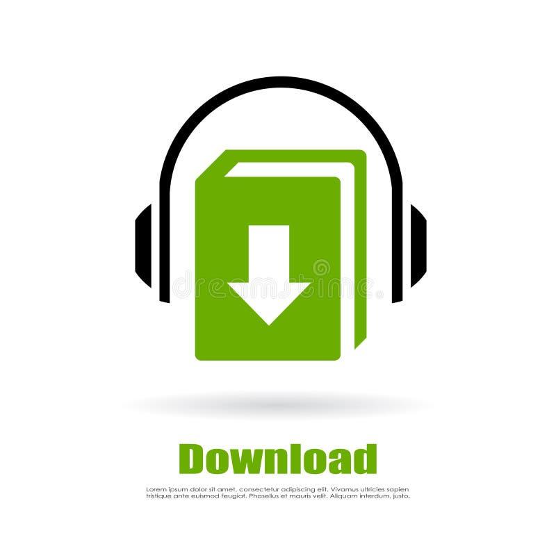 Het audioembleem van de boekdownload vector illustratie