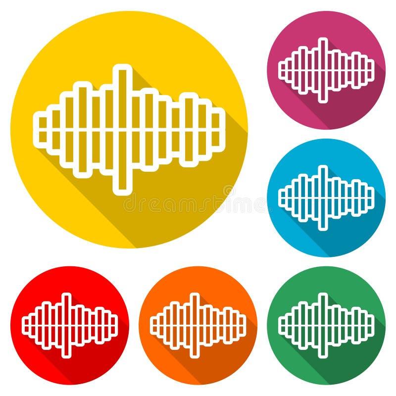 Het audiogolfpictogram of het embleem, Moderne Correcte Golf, kleur plaatst met lange schaduw royalty-vrije illustratie