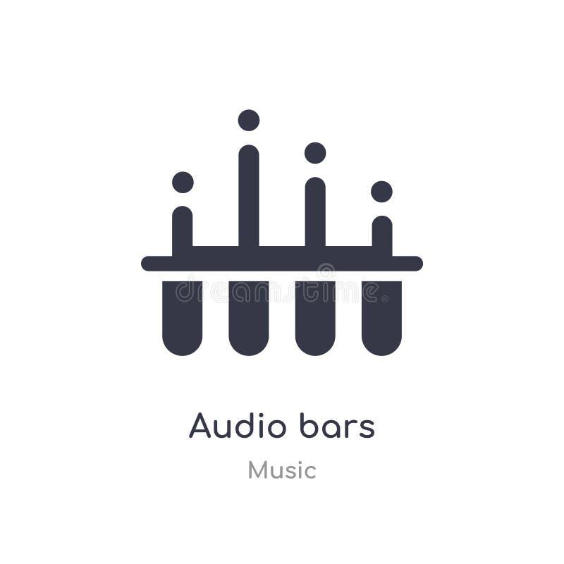 het audiopictogram van het barsoverzicht ge?soleerde lijn vectorillustratie van muziekinzameling het editable dunne pictogram van royalty-vrije illustratie