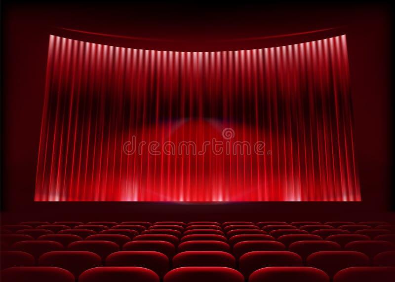 Het auditorium van de bioskoop met stadiumgordijn. stock illustratie