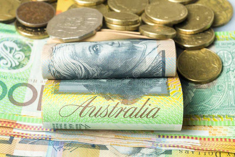 Het Australische geld vouwde nota's en muntstukkendetail royalty-vrije stock afbeeldingen