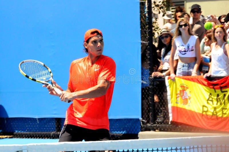 Het Australische Open Tennis van Rafael Nadal stock afbeeldingen