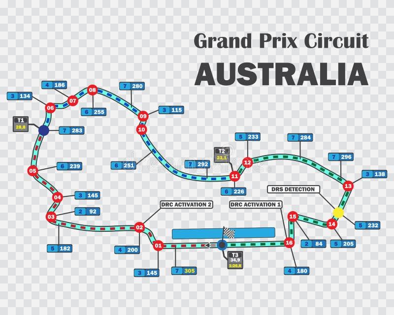 Het Australische spoor van het Grand Prixras Gedetailleerde renbaan of nationale kring voor motorsport en formulekwalificatie royalty-vrije illustratie