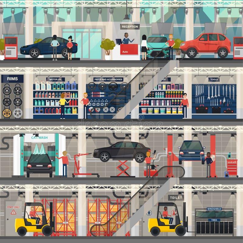 Het autohandel drijven met reparatie en was, winkelruimten stock illustratie