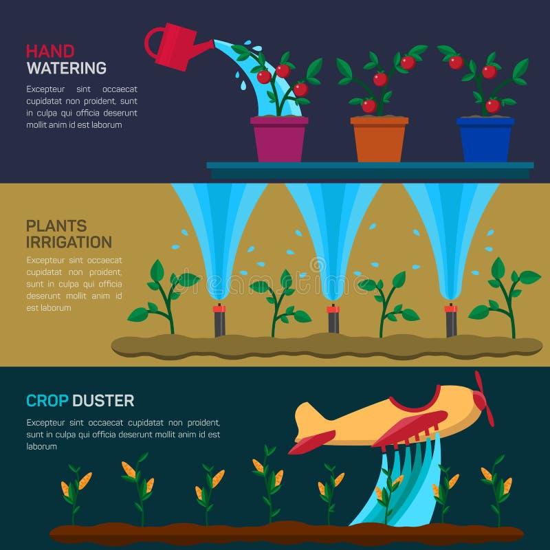 Het automatische Sproeiers Water geven Landbouw stock illustratie