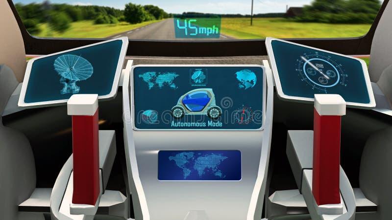 Het autonome voertuig, elektrische driverless auto met infographic gegevens die over de weg, binnen 3D mening, geeft drijven teru stock afbeelding