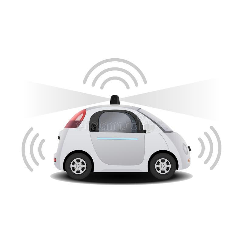 Het autonome zelf-drijft (aandrijving) driverless voertuig met 3D radar geeft terug stock illustratie
