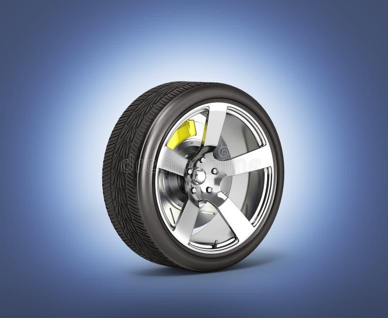 Het autowiel met rem op donkerblauwe gradiëntachtergrond die wordt geïsoleerd gloeit in 3d dark royalty-vrije illustratie