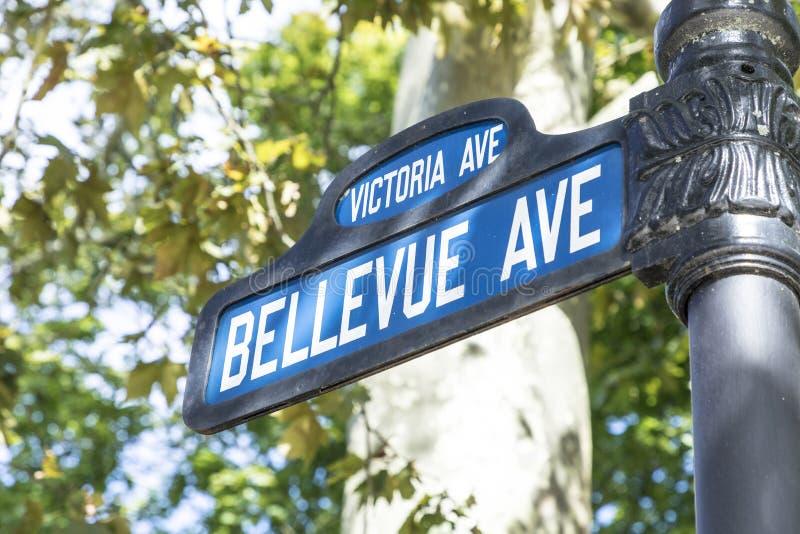 Het ave van Bellevue van het straatteken, de beroemde weg met historische ma stock foto