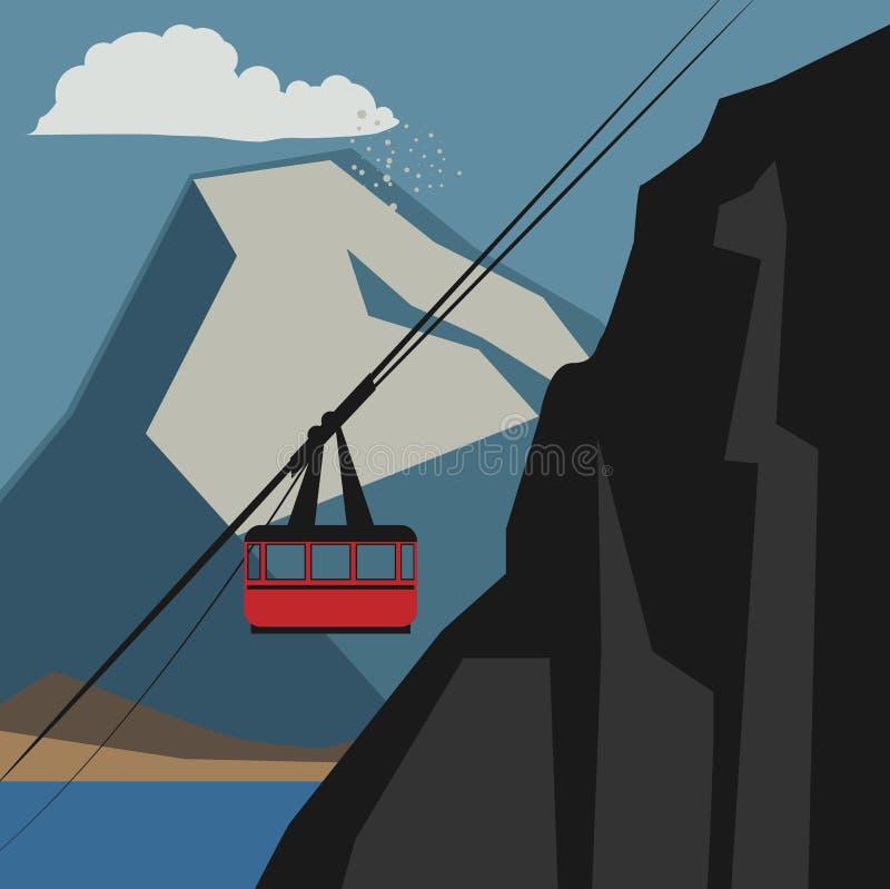 Het avonturenachtergrond van de de winterberg stock illustratie