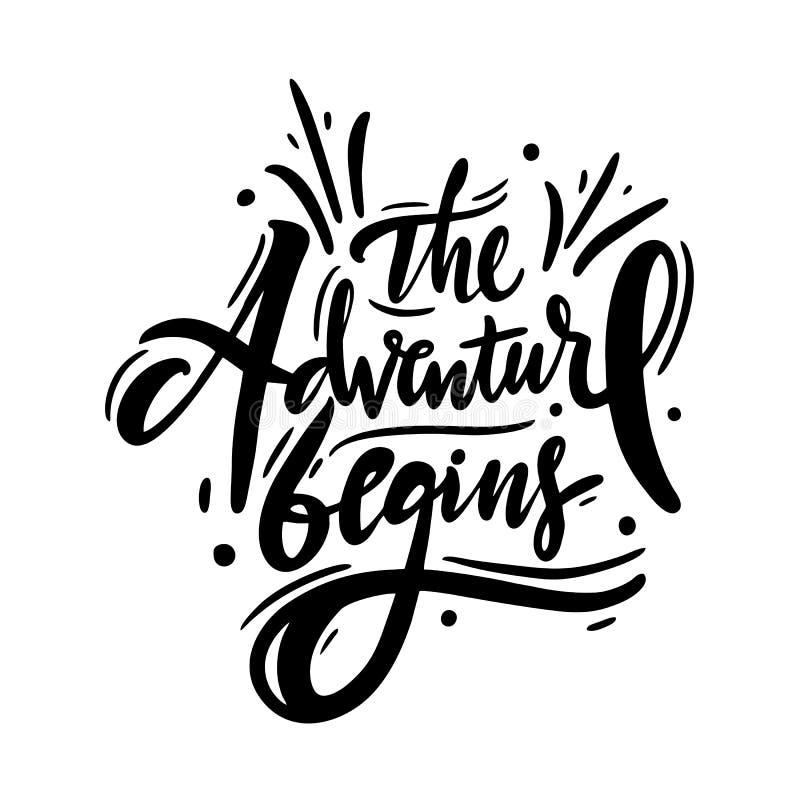 Het avontuur begint hand met het getrokken vector van letters voorzien Motieven inspirational reiscitaat vector illustratie