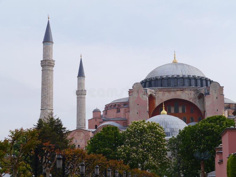 Het Ayasofya-museum met zijn minaretten en koepels in Istanboel royalty-vrije stock foto's