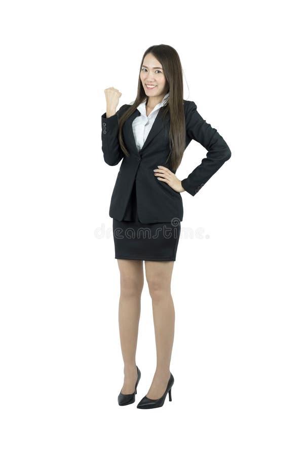 Het Aziatische bedrijfsvrouw vieren vrolijk voor haar succes Volledig lichaam dat op witte achtergrond wordt geïsoleerdi stock afbeeldingen