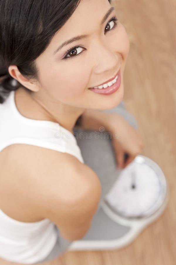 Het Aziatische Chinese Wegen van de Vrouw op Schalen bij Gymnastiek stock afbeelding
