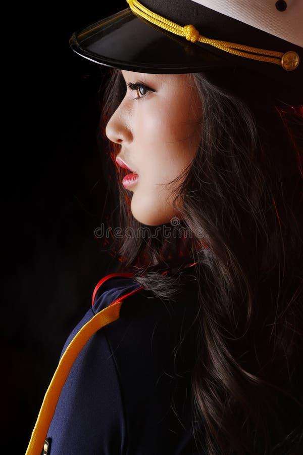 Het Aziatische close-up van het schoonheids zijgezicht stock foto's