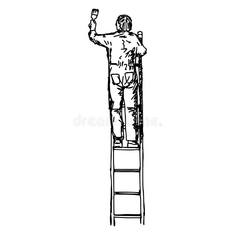 Het Aziatische mannelijke die decorateur schilderen met een verfrol op l wordt beklommen stock illustratie