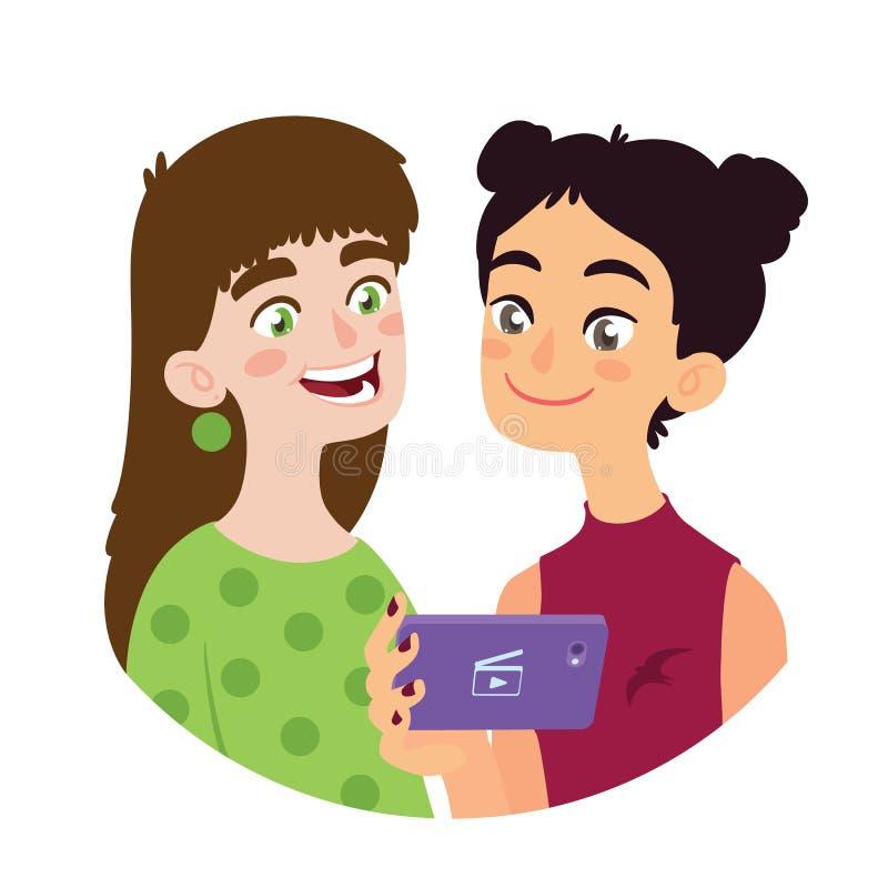 Het Aziatische meisje deelt video aan een Europees meisje Twee glimlachende jonge vrienden van verschillende cultuur die pret heb vector illustratie