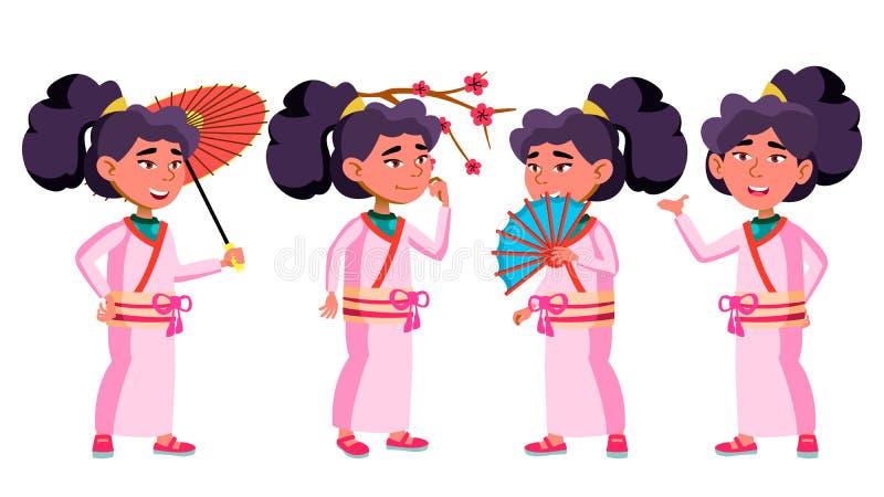Het Aziatische Meisjesjonge geitje stelt Vastgestelde Vector Kimono, Sakura, Paraplu schoonheid Vrolijke jongelui, Voor Prentbrie royalty-vrije illustratie