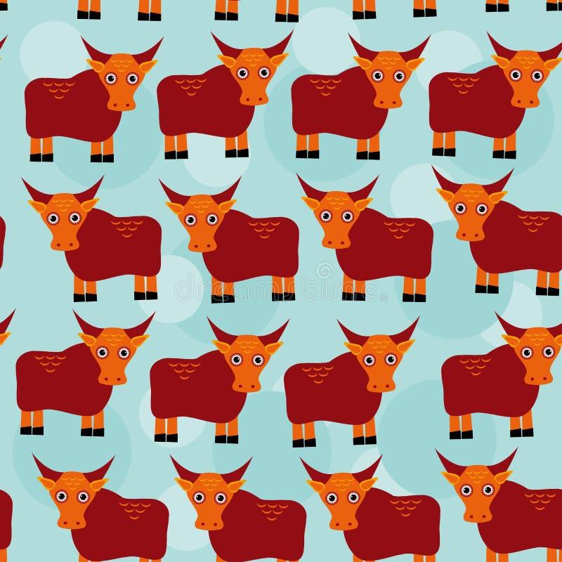Het Aziatische Naadloze patroon van de jakkenstier met grappig leuk dier op een blauw vector illustratie