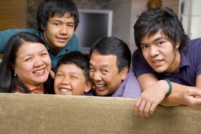 Het Aziatische portret van de familielevensstijl royalty-vrije stock afbeeldingen