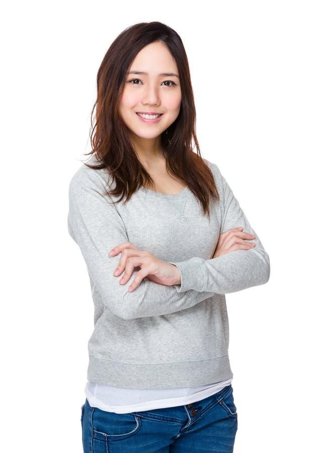 Het Aziatische Portret van de Vrouw stock foto