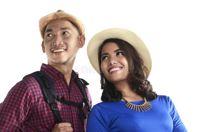 Het Aziatische Toeristenpaar Glimlachen royalty-vrije stock foto