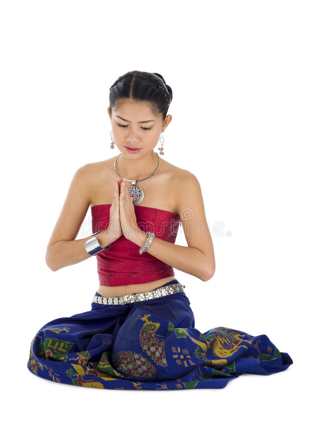 Het Aziatische vrouw bidden royalty-vrije stock foto