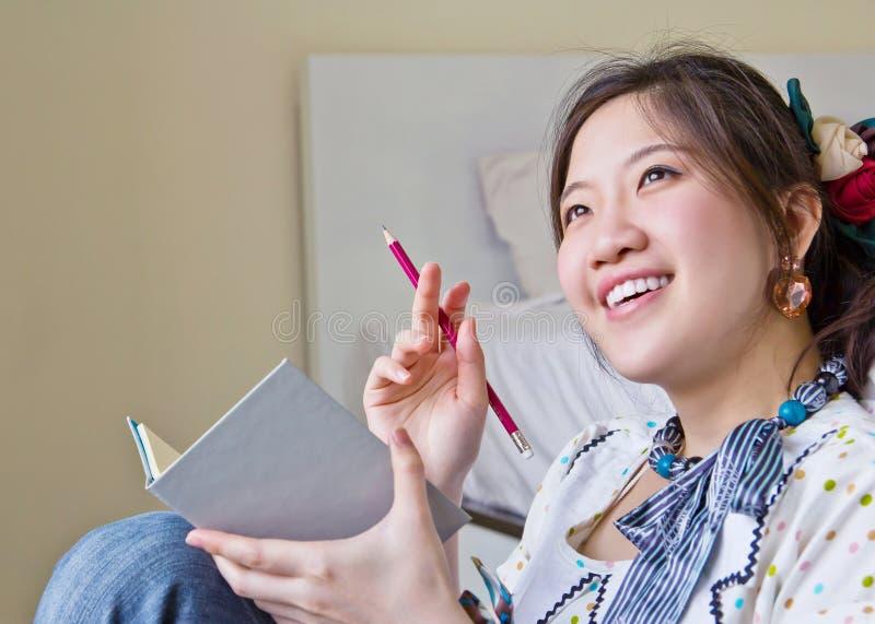 Het Aziatische vrouw denken royalty-vrije stock foto