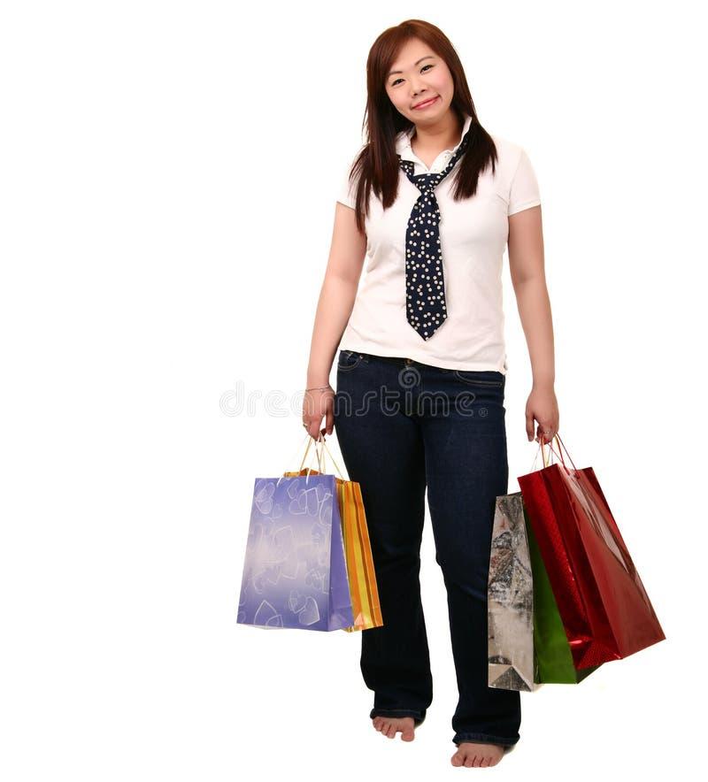 Het Aziatische Winkelen van het Meisje stock foto