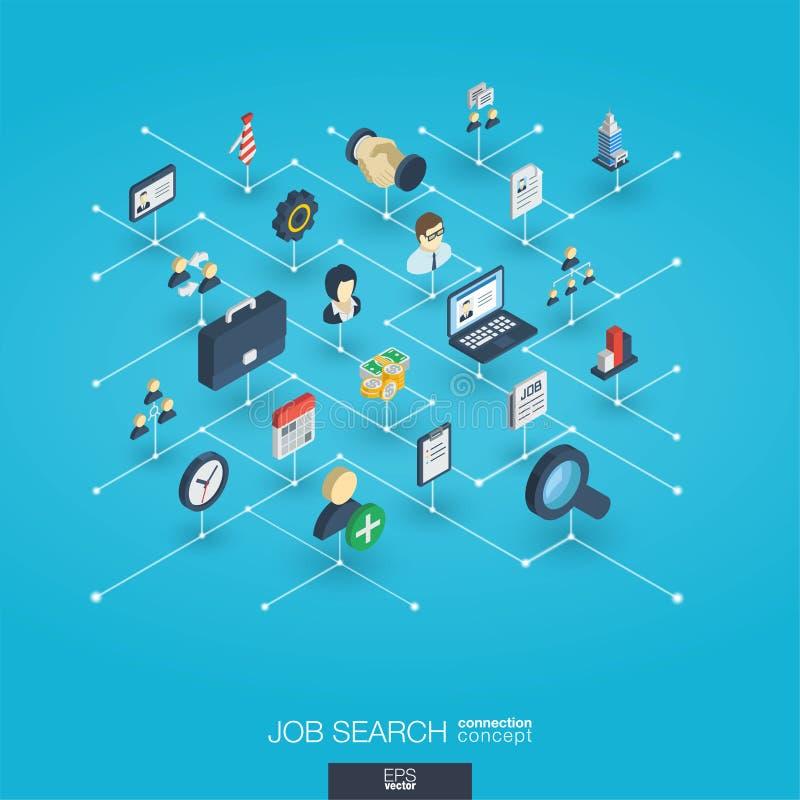 Het baanonderzoek integreerde 3d Webpictogrammen Het digitale isometrische netwerk werkt concept op elkaar in stock illustratie