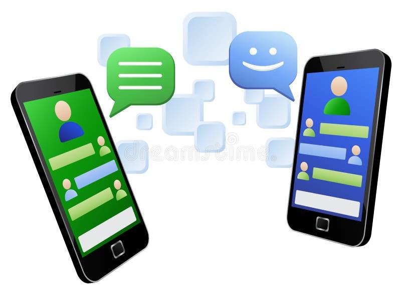 Het babbelen door het aanrakingsscherm smartphones vector illustratie