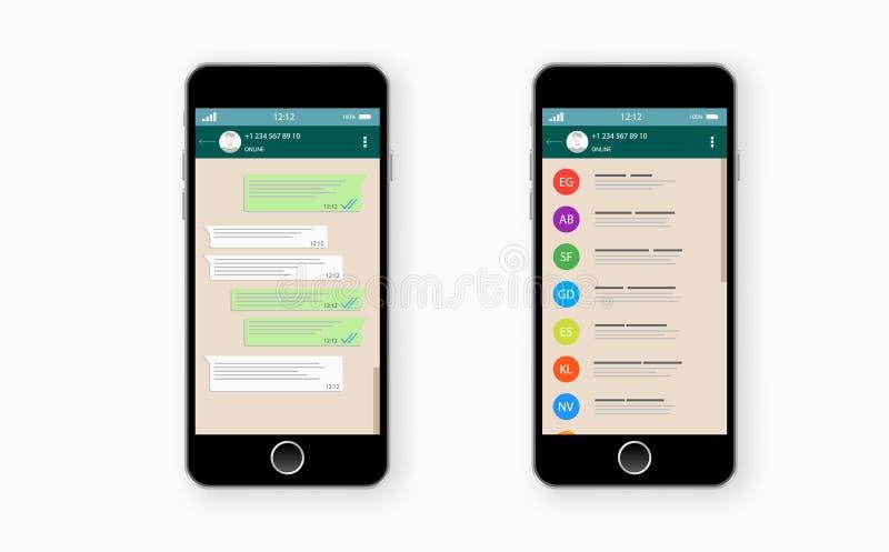 Het babbelen en overseinen SMS-berichten het verzenden Vector modern het babbelen venster stock illustratie