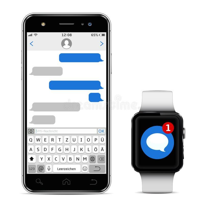 Het babbelen en Overseinenconcept Smartphone en slim horloge met overseinen sms app Geïsoleerdj op witte achtergrond Vector royalty-vrije illustratie