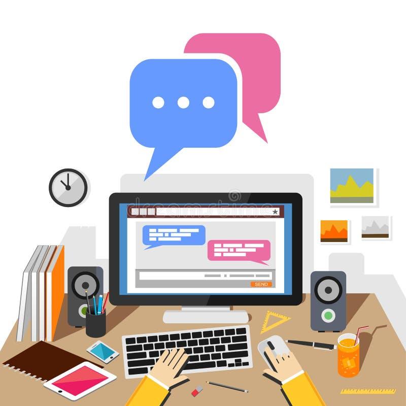 Het babbelen op sociale website of sociale media toepassing met Desktop Het babbelen conceptenillustratie vector illustratie