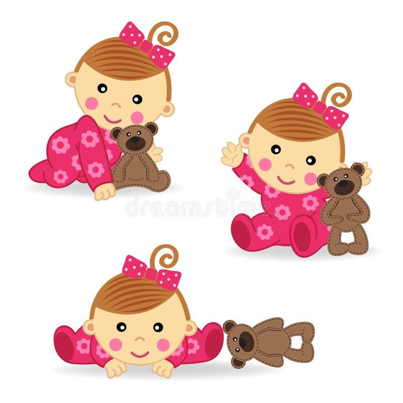 Het babymeisje draagt actie vector illustratie