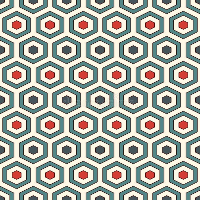 Het background Retro kleuren herhaalden hexagon tegelsbehang Naadloos patroon met klassiek geometrisch ornament royalty-vrije illustratie