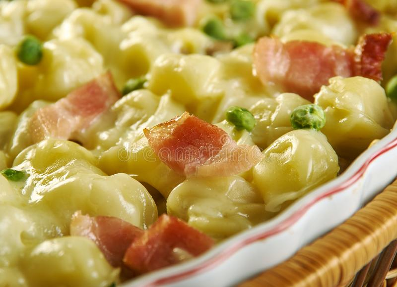 Het bacon Tortellini bakt royalty-vrije stock foto's