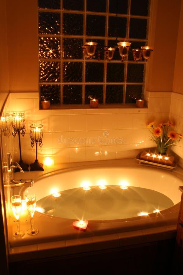 Het Bad van het kaarslicht stock fotografie