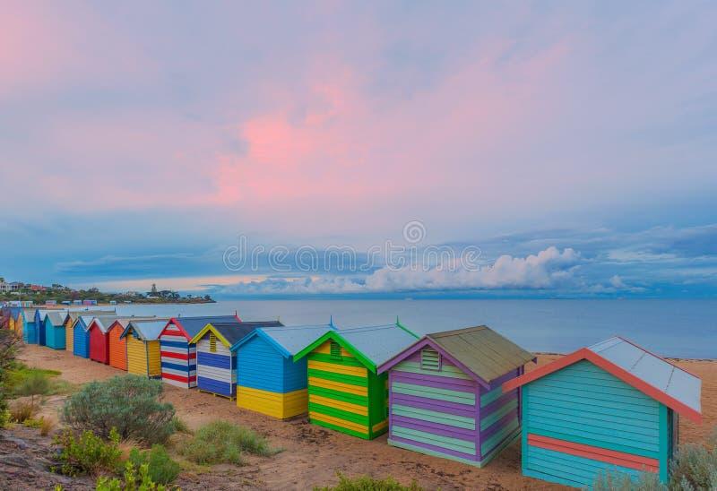 Het baden van Brighton huizen, Australië royalty-vrije stock afbeeldingen