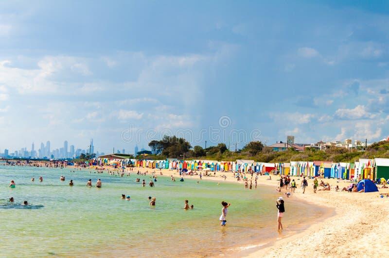 Het baden van dozen in Brighton Beach, Australië royalty-vrije stock afbeelding