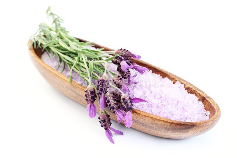 Het badzout van de lavendel stock afbeelding