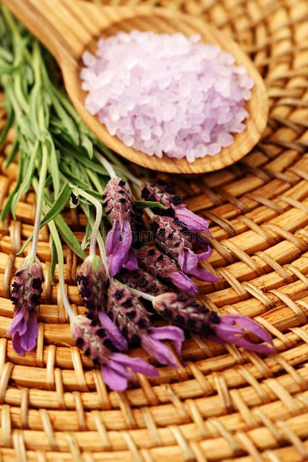 Het badzout van de lavendel royalty-vrije stock foto's
