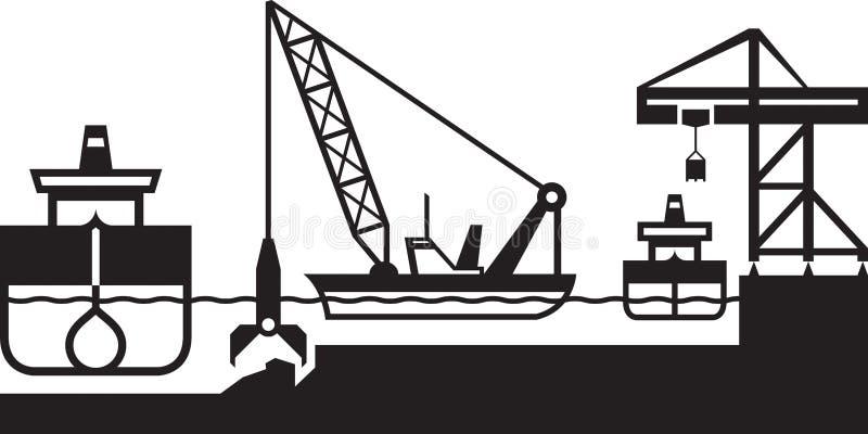 Het baggermachineschip verdiept haven stock illustratie