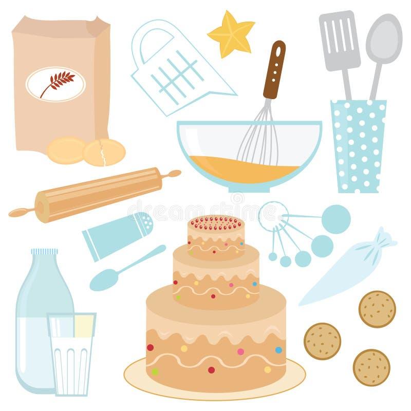 Het bakken van een cake royalty-vrije illustratie
