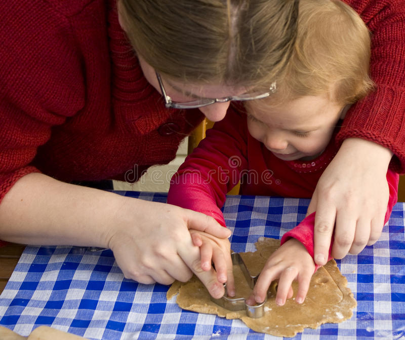 Het baksel van de moeder en van het kind stock foto